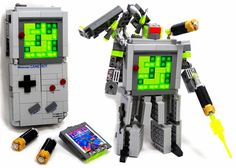 This is a LEGO Game Boy Transformer built by LEGOmaniac Julius von Brunk. I thought the best part is that the Game Boy cartridge even transforms into a little eagle. Lego Transformers, Lego Super Mario, Game Boy, Lego Games, Nintendo Games, Lego Toys, Xbox One, Marvel Comics, Marvel Art