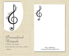 Personalized Music Teacher Gift, Notepad, Teacher Gift, stationery - clef design