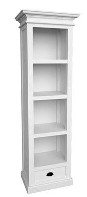 the whitehaven painted tall narrow bookcase with drawer is a striking piece of furniture that would