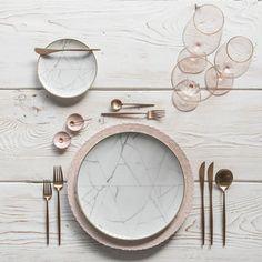 RENT: Lace Chargers in Blush Carrara Dinnerware Moon Flatware in Brushed Rose Gold Bella 24k Gold Rimmed Stemware in Blush Pink Enamel Salt Cellars Tiny Copper Spoons SHOP: