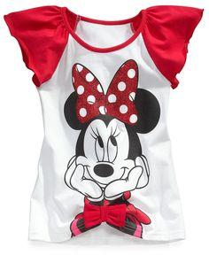 Disney Kids Shirt, Little Girls Minnie Mouse Flutter-Sleeved Tunic - Kids Girls 7-16 - Macys