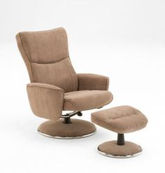 MUSHROOM FABRIC RECLINER W/UPHOLSTERED BASE