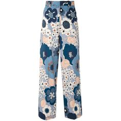 Chlo? Multicolor Floral Pant ($690) ❤ liked on Polyvore featuring pants, multicolor, floral trousers, zipper pants, floral wide leg pants, floral pants and zip pants