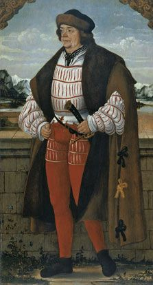 """The Court Jester known as 'Knight Christoph'"" (court jester to the Prince-Bishop of Freising, Count Palatine of the Rhine and Duke of Bavaria) Hans Wertinger (1515)"