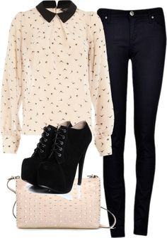 Eleanor inspired outfit <3 @Eleanor Calder has the beeesstt style! xx :) for a One Direction concert!  Dorothy Perkinslong sleeve top/Skinny jeans/Lace up boots/ Zaraclutch handbag