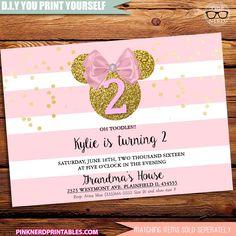 Minnie Mouse Glitter Birthday invitation Pink