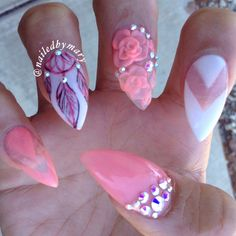 Dream catcher negative space 3d nail art roses stiletto peachy acrylic nails