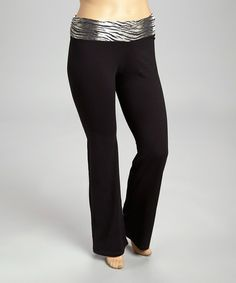 Take a look at this Black & White Zebra Yoga Pants - Plus by 90 Degrees on #zulily today!