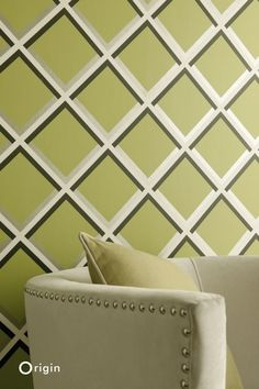 These elegant, eye-catching wallpapers are perfect for creating a beautiful accent wall in a modern interior, creating a refined and luxurious appearance. Stuart Graham, Inspirational Wallpapers, Modern Interior, Accent Chairs, Pergola, Lime, Couture, Throw Pillows, The Originals