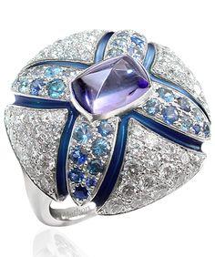 Samarcande ring White gold Diamonds Sapphires Tanzanite Enamel