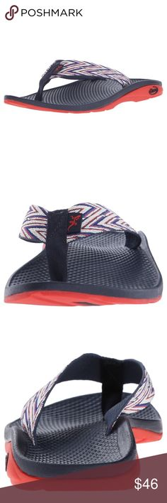 NWOT Chaco Ecotread Sandal NEW Chaco Ecotread flip flop sandal, in perfect condition! Super cute zigzag pattern with blue, navy, orange weight. Excellent arch support & comfort! See details in photos. Chaco Shoes Sandals