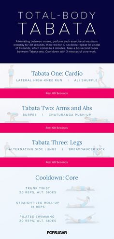Lack of a gym membership is no longer an excuse for skipping workouts. Instead of relying on equipment, let your body be the gym. These 13 bodyweight workouts are effective, easy to follow, and plenty of fun like this Total-Body Tabata