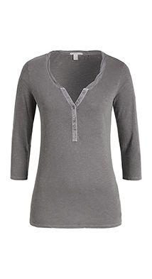 Esprit / Luftiges Henley-Shirt aus Slub-Jersey