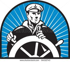 illustration of a ship captain helmsman sailor at the helm steering wheel facing front with sunburst in background - stock vector #sailor #retro #illustration