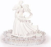 We have many different styles and themes of wedding cake figures to place on top of or around your wedding cakes.     We have wedding cake figurines in humerus styles to traditional styles pick what you want and we will ship it right to your door!