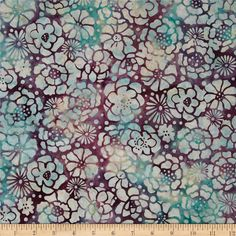 Bali Batiks Graphic Floral Rose from @fabricdotcom  Designed for Hoffman International Fabrics, this Indonesian batik is perfect for quilting, craft projects, apparel and home décor accents. Colors include purple, turquoise, cream and light aqua.
