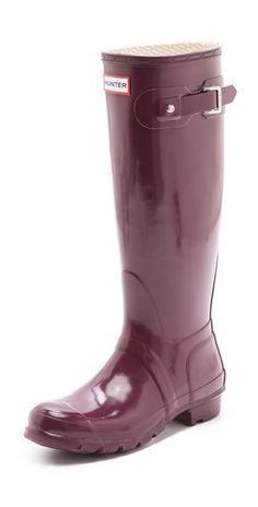 Hunter boots in Dark Ruby