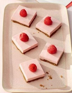 This yummy recipe uses crushed ginger snaps instead of graham crackers for the crust and is topped with creamy raspberry cheesecake.