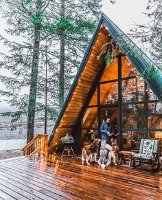 That Cabin Life Aesthetic - architecture house A Frame Cabin, A Frame House, Cabin Homes, Log Homes, Cabin In The Woods, Cabins And Cottages, Log Cabins, Decks And Porches, Cozy Cabin