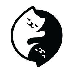 Cat Yin Yang Art Print by irmirx Ying Yang, Yin Yang Art, Art Drawings Sketches, Easy Drawings, Cute Little Drawings, Yin Yang Tattoos, Cat Wall, White Cats, Cat Drawing