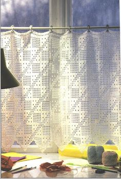 Needle-Works Butterfly: Filet Crochet Curtains - See accompanying chart