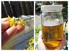 Uleiul din flori de păpădie preparat în casă este un remediu eficient împotriva pistruilor în special, şi petelor de bătrâneţe. Voss Bottle, Water Bottle, Natural Remedies, Alcoholic Drinks, Hair Beauty, Homemade, Tableware, Health, Glass
