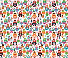 matryoshka russian doll kids pattern fabric by littlesmilemakers on Spoonflower - custom fabric
