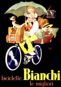 Vintage cycle poster.Bianchi