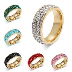 7MM 18K Gold Plated Stainless Steel 3 Row CZ Crystal Wedding Band Ring Size  6-13 510eda3e53af