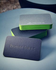 Bright Green Edge Colored Business Cards http://www.arcreactions.com/calgary-marketing-blog/
