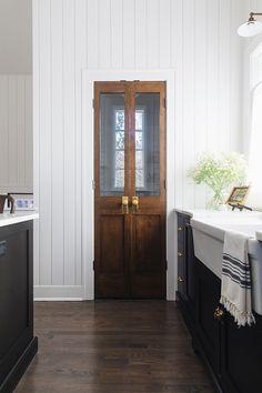 Pantry Door Kitchen pantry door Pantry door ideas pantry features vintage-looking double doors with antique hardware #pantry #pantrydoor #pantrydoors