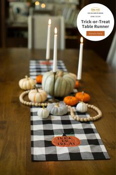 Dress up your home with a Halloween table runner! Easily create your own table runner or buy a blank version from your favorite shop. We included the trick-or-treat pumpkin appliqué design and gave you a tutorial on how to stitch it out. 🎃 // Free pumpkin appliqué design and tutorial available through the link.