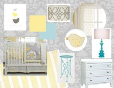 grey, yellow, aqua nursery