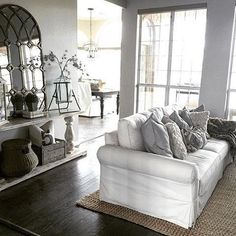 We love the quiet natural elements of living room. Our roll arm sofa is perfect for lounging, reading and watching your favorite binge-worthy shows. Now pass the popcorn and the red wine! Living Room Remodel, Living Room Sofa, Living Room Decor, White Couches, Shabby, Comfy Sofa, Living Room Designs, Home Furniture, Lounge