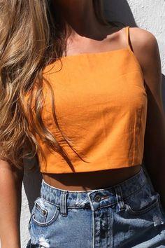 880c7c2f9cd15 Orange Spaghetti Straps Bow Decor Sleeveless Sexy Crop Top