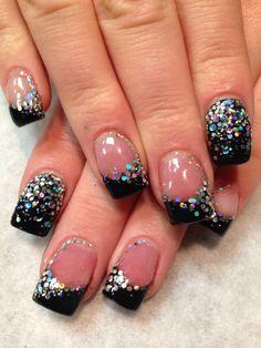 Vegas nails!! CND shellac black pool & GLITTER!!