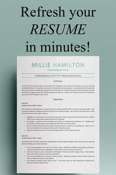 Professional resume template for Word from Developing Careers. This modern, creative yet professional resume template is ideal for marketing, sales, executive, project manager, administrative posts - and more! Resume Action Words, Resume Words, Resume Writing, Simple Resume Template, Cv Template, Resume Templates, Marketing Resume, Sales Resume, Cover Letter Design
