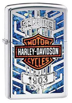 Zippo Harley Davidson Logo Armor Ice Pocket Lighter, Chrome