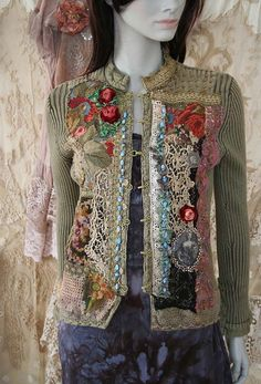 The time traveller II -- reworked cotton jacket, wearable art, hand embroidered…