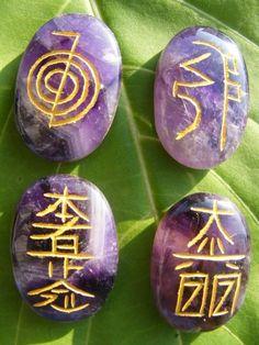 Reiki healing engraved gem stone symbols