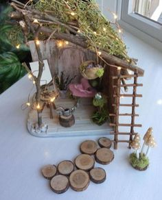 Fairy House by Olive Fairy Cottage Miniature Cottage Fairy. Fairy House by Olive, Fairy Cottage, Miniature Cottage ~ Fairy Bed and Fairy Painter's Easel, Faerie, Fae House Fairy Garden Plants, Fairy Garden Furniture, Mini Fairy Garden, Fairy Garden Houses, Diy Fairy House, Fairy Gardening, Fairies Garden, Garden Gazebo, Fairy Houses Kids