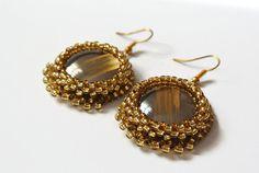 Golden Brown Earrings Dangle Smoky Brown Earrings by Carramela
