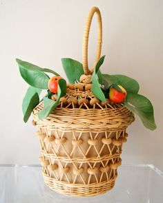 Vintage 50s Basket Purse with Faux Fruit and Leaves by Maybelle Marie Birch California. $98.00, via Etsy.