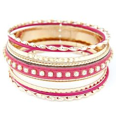 Waist Plum Red Diamond Decorated Multilayer Design Alloy Fashion Bangles :Asujewelry.com