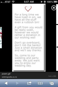 Wedding wishing well poem