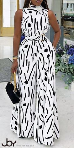 Abstract Print Sleeveless Wide Leg Jumpsuit - How To Be Trendy African Print Jumpsuit, African Print Dresses, African Print Fashion, African Dress, Ankara Jumpsuit, African Women Fashion, Classy Dress, Classy Outfits, Chic Outfits