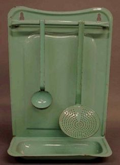 Vintage Nile green enamel utensil rack - No where to put it, but I sure do like it...