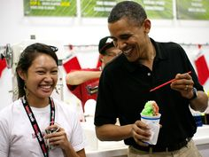 Obama shares a laugh with a supporter in Hawaii on December 27, 2010. [Photo: Getty Images]