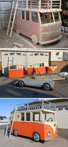 Kids Bus Bed pinning because it looks like the One Direction van. Outdoor Toys For Kids, Diy For Kids, Diy Bett, Bedding Inspiration, Vans Kids, Kids Wood, Kid Beds, Play Houses, Boy Room