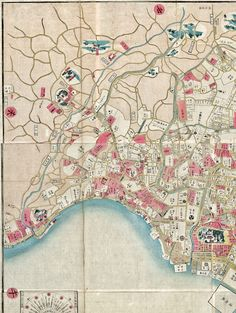 "Detail. 1861. Japanese map of Tokyo. ""Large plan of Edo revised in the Bunkyū era"" 文久改正御江戸大絵図. University of British Columbia Library."